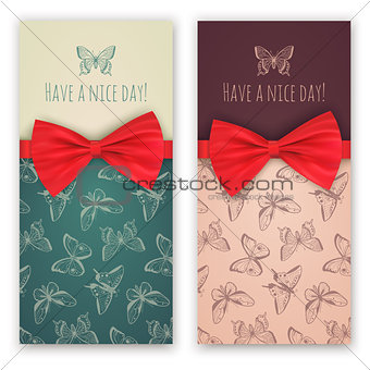 Sketch butterflies and red ribbon bow.