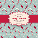 Christmas candies pattern and greeting text.