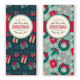Holiday objects pattern and greeting text.