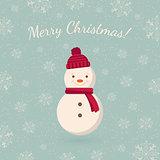 Snowman on winter backdrop.