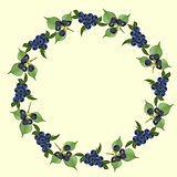 frame of blueberries and blackberry with green leaves