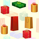 seamless pattern colored boxes with gifts