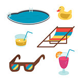 Vector summer icons. Flat-style drinks, glasses, pool colored on white background.
