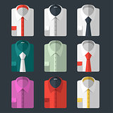 Set of different flat-style shirts. Casual and business-style
