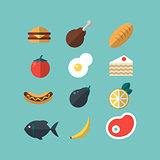 Set of food icons. Meat, vegetables, hot-dog, cake,bread, fish. Flat-style on blue background