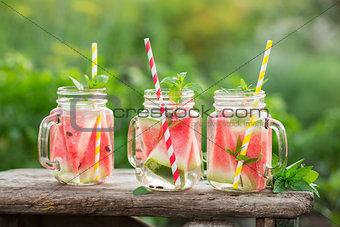 Watermelon water in glass jars