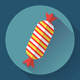 Sweet xmas candy icon. Flat designed style.