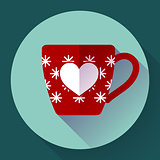 Cup icon with snowflakes in heart