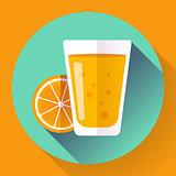 Juice glass. Flat designed style icon.
