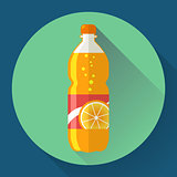 Vector bottle with orange soda liquid. Flat designed style