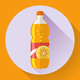 Vector bottle with orange soda liquid. Flat designed style
