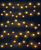 Set of yellow garland style christmas lights on the dark gray background. Vector design incandescent light string elements.
