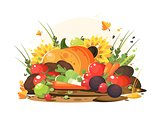 Autumn harvest of vegetables and fruits