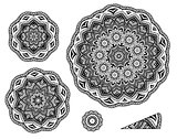 Linear carelessly drawn by hand a vector sketch ornamental mandala set. Abstract monochrome line art backdrop template collection. Black Florist decorative design element. Beauty illustration