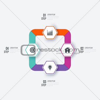 Business infographics template 4 steps
