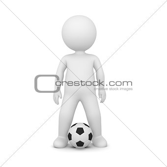 3D Rendering of a soccer player on white