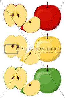 Apples set in cartoon style.