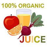 Natural fresh juice in a glass. Healthy organic food.