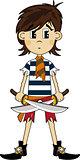 Cute Cartoon Pirate with Swords