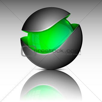 Green circle sphere logo