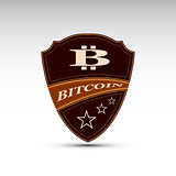 The vector shield with bitcoin symbol