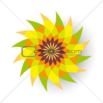 Green and orange flower