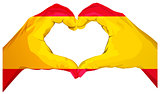 Two palms make heart shape. Spanish flag
