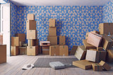 the heap of the cardboard boxes