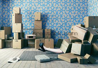 cardboard boxes fell