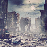giant elephant in destroyed city