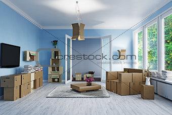 cardboard boxes design room