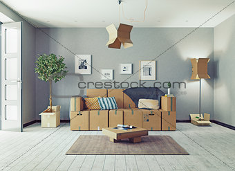 cardboard boxes design room