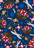 Cartoon Pirate and Ship Pattern