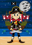 Cartoon Pirate Captain and Ship
