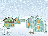 Snowy village in winter landscape in the mountains
