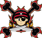 Cartoon Bandana Pirate with Eyepatch