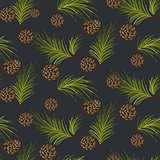 Fir cones seamless vector pattern.