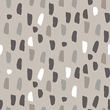 Paint splash brushstrokes seamless vector gray brown pattern.