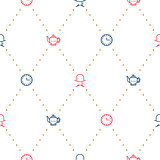 English tea party elegant red and blue on white line vector pattern.