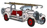 Vintage white fire truck