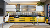 yellow color kitchen design decor idea