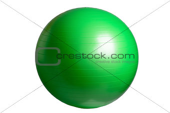 Close up of an green fitness ball isolated on white background