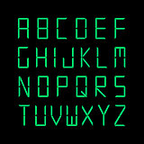 Digital english alphabet. Green font