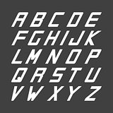 Sport font. Vector english simple alphabet. Incline latin letters.