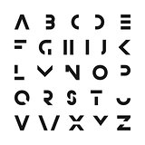 Simple modern font. Minimalistic english alphabet. Futuristic latin letters.