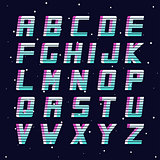 Retro font - fashion 80-90s. Futuristic vector english alphabet.