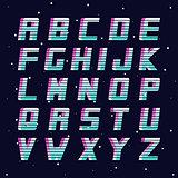 Retro font - fashion 80-90s. Futuristic vector english alphabet.