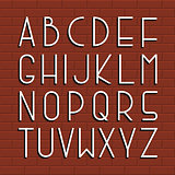 Thin retro font. Vector english alphabet.