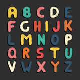 Colorful cartoon funny font. Children english alphabet.