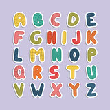Cartoon funny font. Color english baby alphabet.